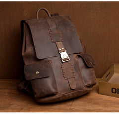 Casual Brown Mens Leather 15-inch Large Backpacks Brown College Backpack School Backpacks for men