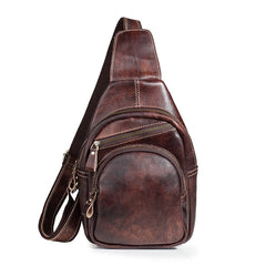 Tan Cool LEATHER MENS 8 inches Sling Bag One Shoulder Backpack Brown Chest Bag For Men