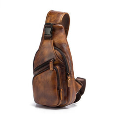 Brown Cool LEATHER MENS 8'' Sling Bag Coffee Chest Bag Brown One Shoulder Bag For Men