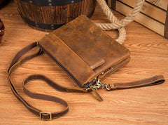 Brown Cool Leather 10 inches Small Vertical Side Bags Brown Messenger Bags Courier Bag for Men