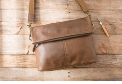 Brown Cool Leather Mens 11 inches Side Bags Messenger Bags Khaki Leather Courier Bag for Men