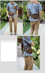 Brown Cool Leather Mens Fanny Pack Hip Pack Bum Pack Waist Bag Pack For Men