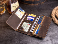 Cool Dark Brown Mens long Wallet Trifold Multi Cards Long Wallet  for Men