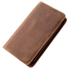 Brown Cool Mens long Wallet Wristlet Wallet Clutch Wallet Bifold Long Wallet for Men