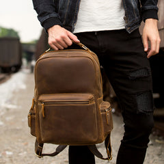 Fashion Brown Mens Leather 15-inch Computer Laptop Backpack Brown Travel Backpack School Backpacks for men