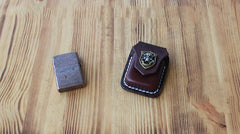 Handmade Mens Coffee Leather Classic Zippo Lighter Cases Black Zippo Lighter Holder with Belt Clip