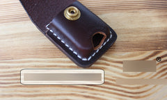 Handmade Mens Coffee Leather Slim Zippo Lighter Case Black Zippo Lighter Holder with Belt Loop