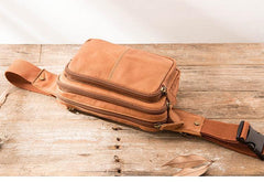 Brown Leather 8 inches Fanny Pack Hip Pack Mens Waist Bag Brown Chest Bag Bum Bag for Men