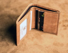 Brown Leather Men Slim Small Wallet Bifold Small Vintage Wallet for Men