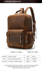 Brown Leather Men's 14 inches Large Computer Backpack Large Black Travel Backpack Brown Large Hiking Backpack For Men