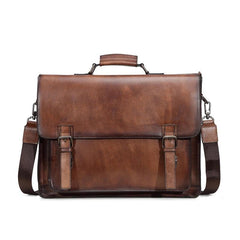 Brown Leather Men's Professional Briefcase 14'' Laptop Handbag Black Business Bag Messenger Bag For Men