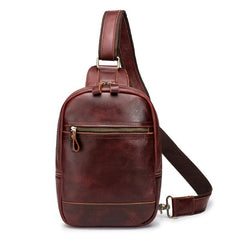 Brown Leather Men's Sling Bag Red Brown Chest Bag 8 inches One Shoulder Backpack For Men