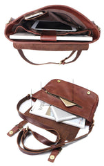 Brown Leather Mens Casual Courier Bags Messenger Bags 10 inches Postman Bag For Men