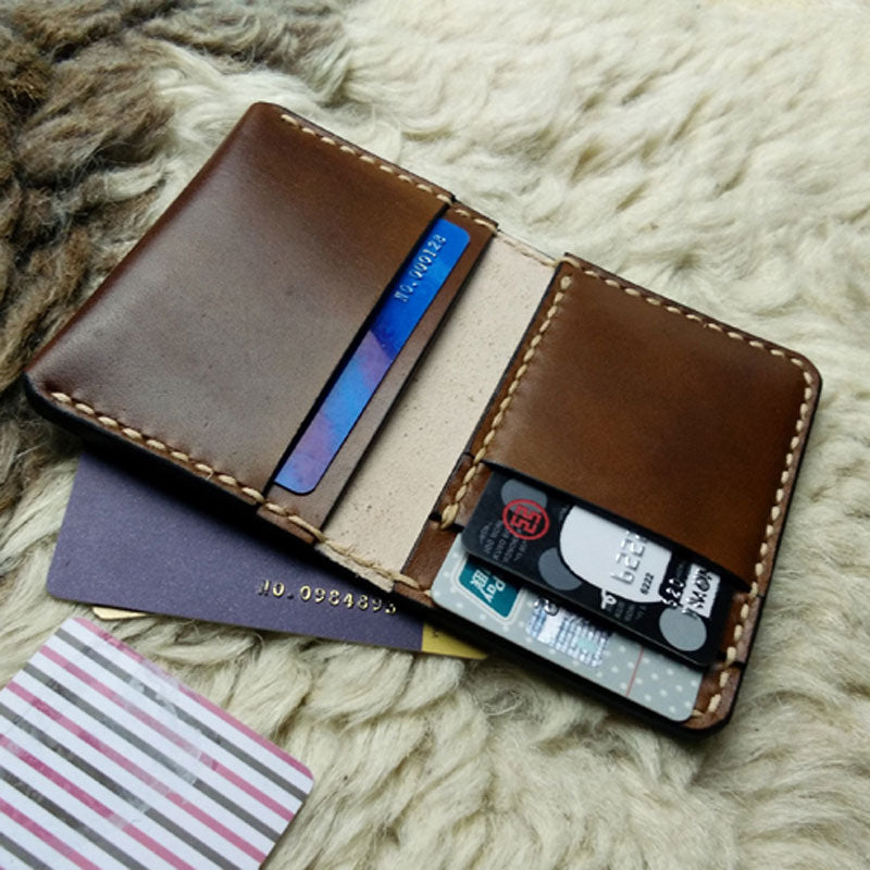 1bf900e67a2d Brown Leather Mens Slim Front Pocket Bifold Small Wallets Card Wallet for  Men