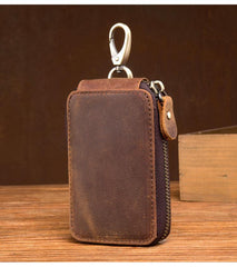 Brown Leather Mens Small Car Key Wallet Key Holders Car Key Holder For Men