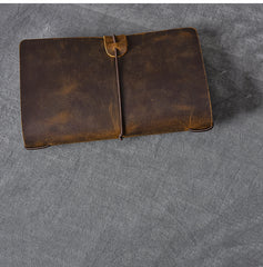 Brown Leather Mens Bifold Canvas Travel Clutch Bag Long Wallet For Men