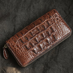 Brown Real Crocodile Leather Mens Long Wallet Zipper Wallet Clutch Wallet For Men