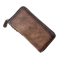 Brown Vintage Chain Wallet Leather Mens Gray Long Biker Wallet Zipper Clutch Wallet For Men