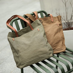 Khaki Vintage Canvas Men Womens Large Tote Bag Green Canvas Shoulder Tote Bag Shopper Tote For Men