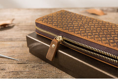 Brown Vintage Cool Mens Zipper long Wallet Leather Wallet Bifold Long Wallets Clutch for Men
