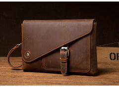 Brown Vintage Mens long Wallet Large Wristlet Wallet Cool Clutch Wallet Envelope Wallet for Men