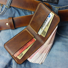 Brown Vintage Leather Mens Slim Small Wallet Leather Bifold Wallets for Men