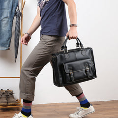 Handmade Black Mens Leather Briefcase Work Handbag Dark Brown 14'' Computer Briefcase For Men