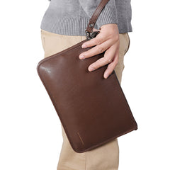 Coffee Leather Mens Large Leather Wallet Wristlet Bag Black Envelope Bag Clutch Wallet for Men