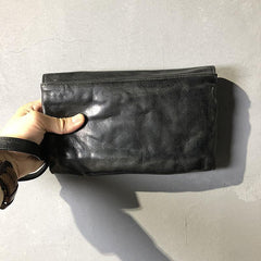 CASUAL BLACK LEATHER MEN'S Long Wallet Clutch Wallet BLACK Wristlet Wallet FOR MEN