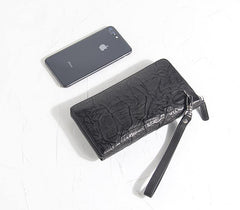 CASUAL BLACK LEATHER MEN'S Bifold Long Wallet Clutch Wallet BLACK Wristlet Wallets FOR MEN
