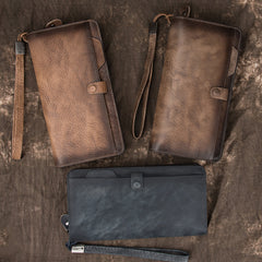 COOL MENS LEATHER Brown Bifold ZIPPER LONG CLUTCH WALLETS VINTAGE Brown Wristlet Long WALLET FOR MEN