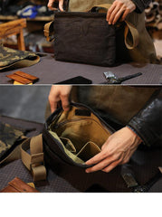 Camouflage Canvas Mens Small Courier Bag Messenger Bag Black Postman Bag For Men