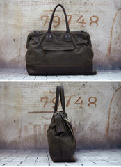 Vintage Leather Canvas Mens Handbag Briefcase Doctor Bag Briefcase For Men
