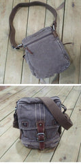 Canvas Black Mens 8 inches Small Vertical Postman Bag Canvas Messenger Bags Courier Bag For Men