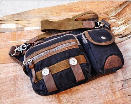 Canvas Mens Chest Bag Khaki Waist Bag Black Canvas Fanny Pack For Men