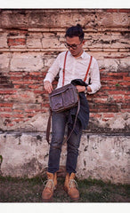 Canvas Cool Mens Small Square Side Bag Canvas Messenger Bags Canvas Travel Courier Bags for Men