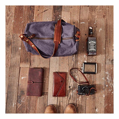 Canvas Cool Mens Green Side Bags Canvas Leather Messenger Bags Canvas Travel Courier Bag for Men
