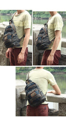 Jean Vintage Blue Mens Large Sling Bag Chest Bag Jean One Shoulder Backpacks For Men