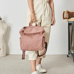 Pink Canvas Mens Womens Cube Rucksack Satchel Backpack Canvas School Backpack for Men Women