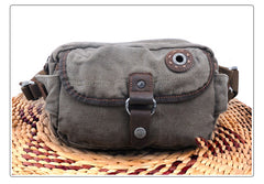Canvas Mens Chest Bag Khaki Waist Bag Black Canvas Fanny Pack Shoulder Bag For Men