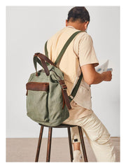 Canvas Mens Backpacks Canvas Green Satchel Backpack Canvas Computer Backpack for Men