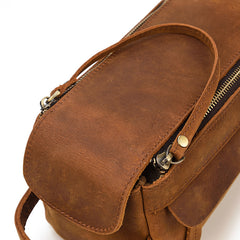 Brown Leather Men's Clutch Bag Double Zipped Dark Brown Wristlet Handbag Storage Bag For Men