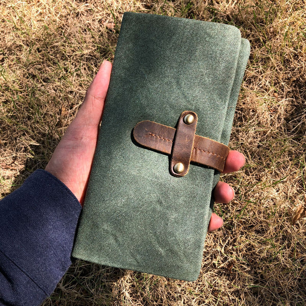 Canvas Leather Long Wallets for men Bifold Vintage Men Long Wallet