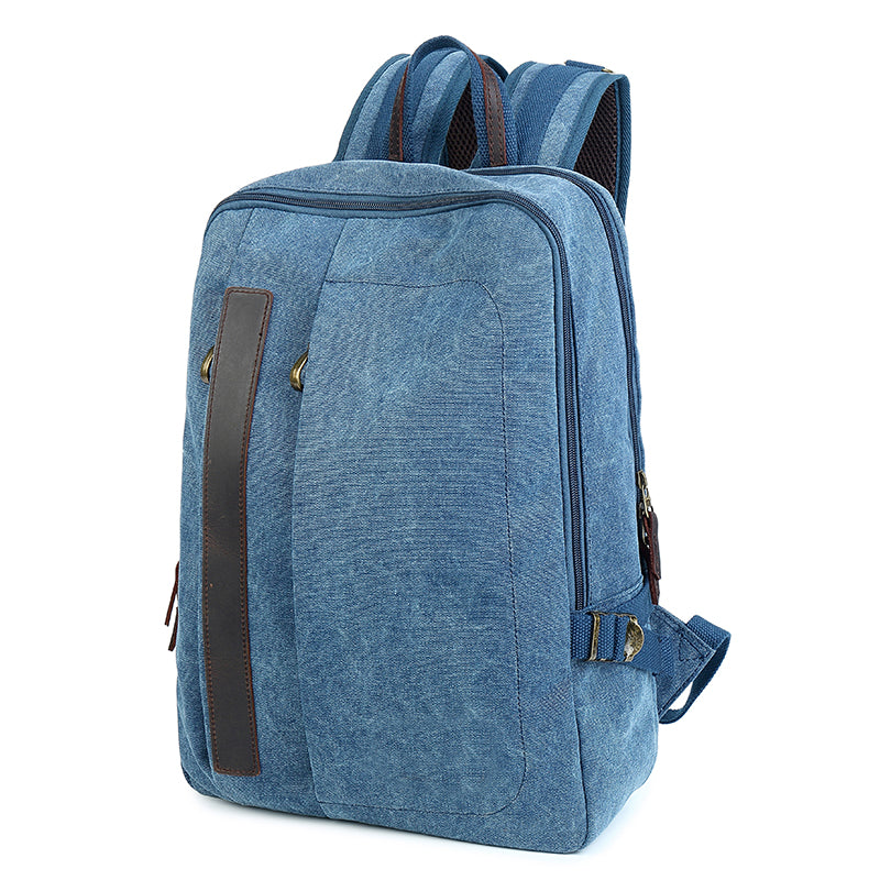 "Canvas Mens 14"" Black Computer Backpack Green Travel Backpack Blue College Backpack for Men"