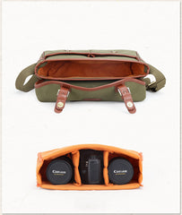 Green Washed CANVAS MENSCANON CAMERA Side Bag NIKON CAMERA Shoulder BAG DSLR CAMERA Messenger BAG FOR MEN