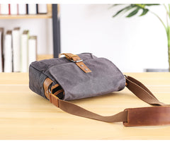 Canvas Leather Mens DSLR Camera Bag Side Bag Green Small Messenger Bag for Men