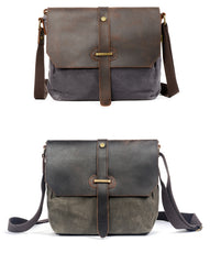 Waxed Canvas Leather Gray Mens Small Side Bag Green Shoulder Bag Messenger Bag For Men