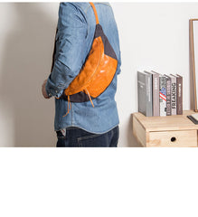 Canvas Leather Mens Sling Bag Dark Gray Chest Bag One Shoulder Backpack for Men