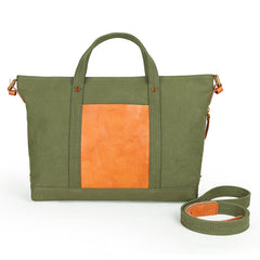 Canvas Leather Mens Womens Small Handbag Caramel Tote Bag Shoulder Bag Green Side Bag for Men