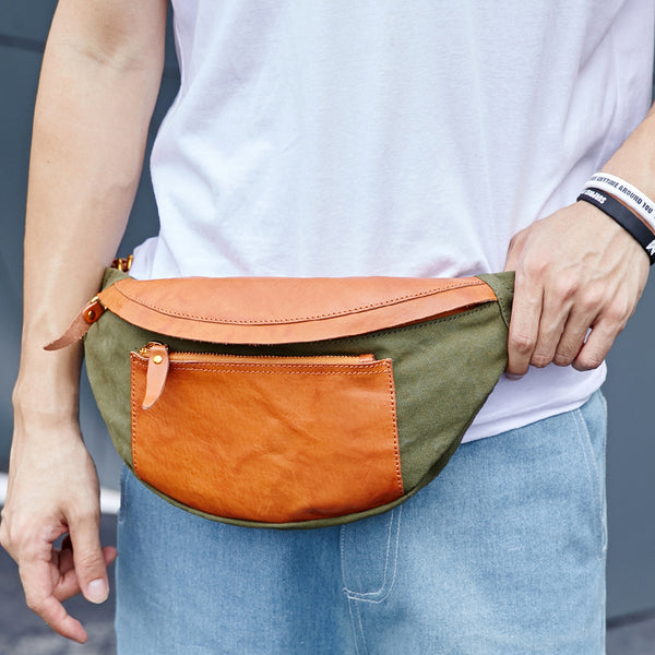 Canvas Leather Mens Caramel Waist Bag Army Green Fanny Pack Hip pack Chest Bag For Men